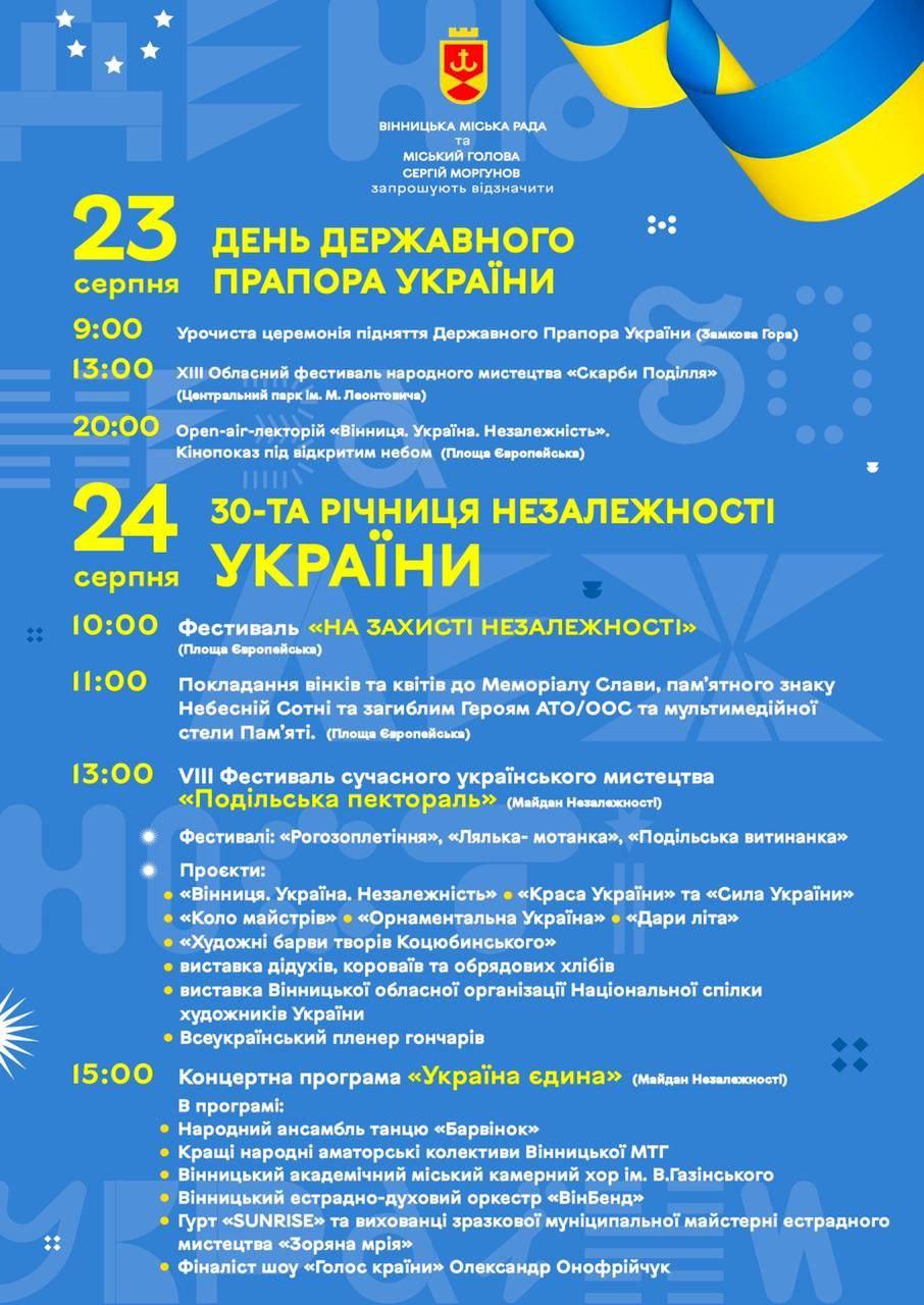 Фестивалі, військові та історичні виставки, концерти: як у Вінниці відзначать 30-річчя Незалежності